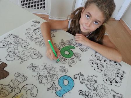 Pachet PROMO: Plansa de colorat reutilizabila - Cifre si numere + Carioca JOY6