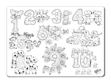 Pachet PROMO: Plansa de colorat reutilizabila - Cifre si numere + Carioca JOY2