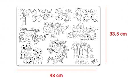 Pachet PROMO: Plansa de colorat reutilizabila - Cifre si numere + Carioca JOY7