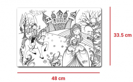 Pachet PROMO: Plansa de colorat reutilizabila - Printul si Printesa + Carioca JOY7