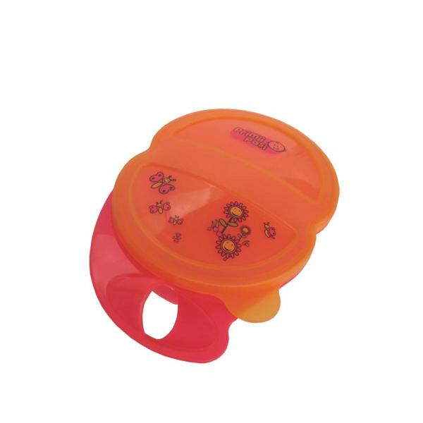Bol 2 compartimente cu capac și lingurița, portocaliu-roșu 0