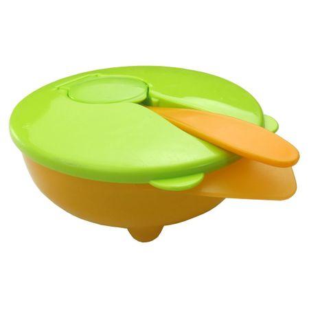 Bol cu capac și linguriță, verde - portocaliu 0