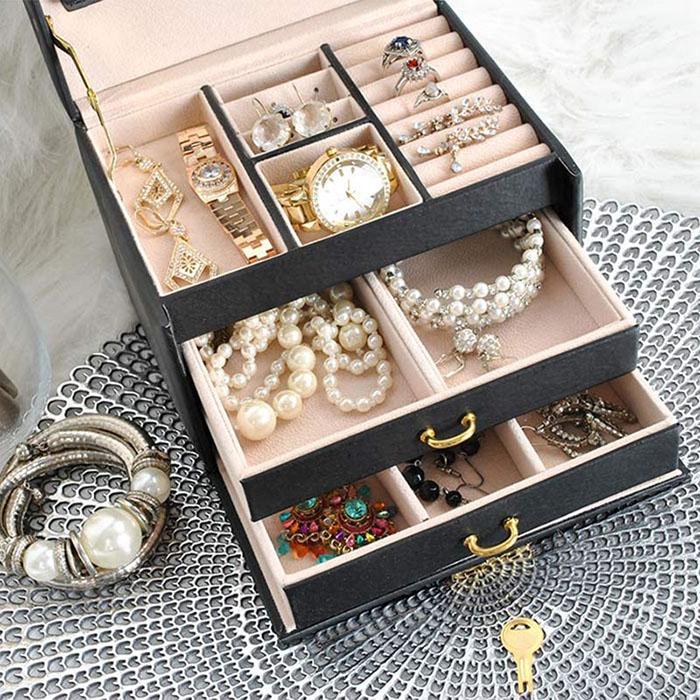 Cutie de bijuterii XL cu oglinda, cheita si 20 compartimente