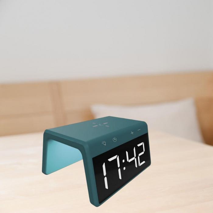 Ceas desteptator cu incarcator wireless smartphone AlarmOn 0
