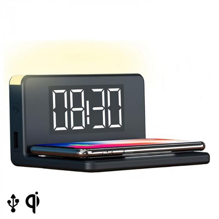 Ceas desteptator cu incarcator wireless smartphone Eccentric 1