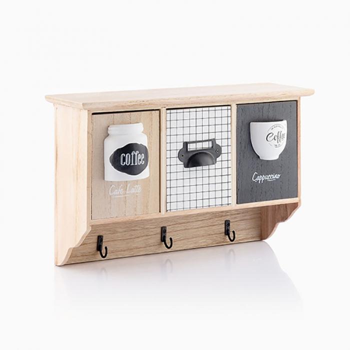 Cuier perete lemn cu organizator cafea 1