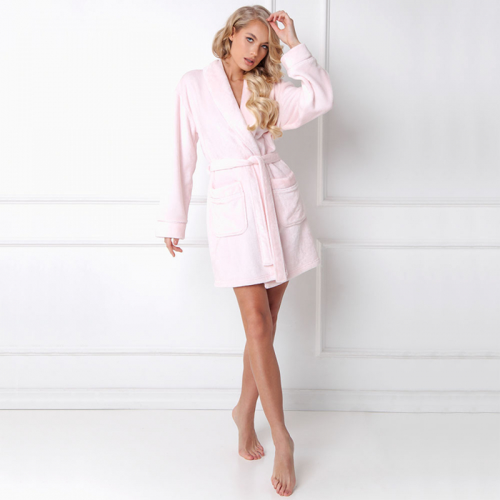 Halat de baie dama Elly roz 0