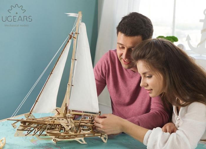 Puzzle 3D Barca Trimaran din lemn Ugears 3