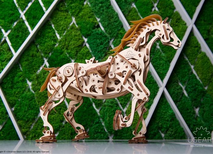 Puzzle 3D Cal Bionic din lemn Ugears [4]