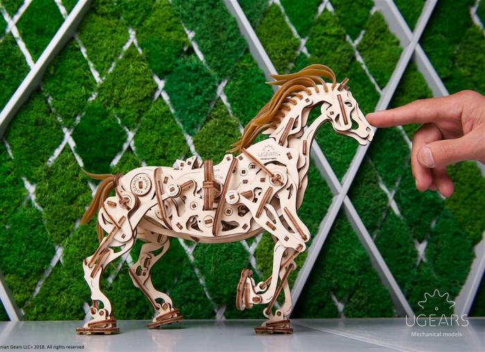 Puzzle 3D Cal Bionic din lemn Ugears [5]