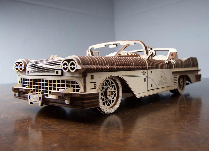 Puzzle 3D Dream Cabriolet VM-05 din lemn Ugears 2
