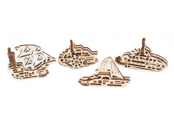 Puzzle 3D Fidget Nave Maritime din Lemn Ugears [6]