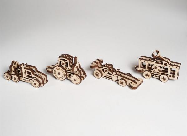 Puzzle 3D Fidget Vehicule din Lemn Ugears 3