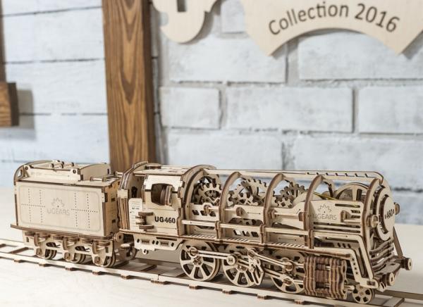 Puzzle 3D Locomotiva cu Aburi si Vagon din Lemn Ugears 11