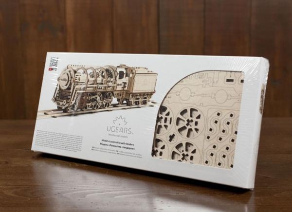 Puzzle 3D Locomotiva cu Aburi si Vagon din Lemn Ugears 24