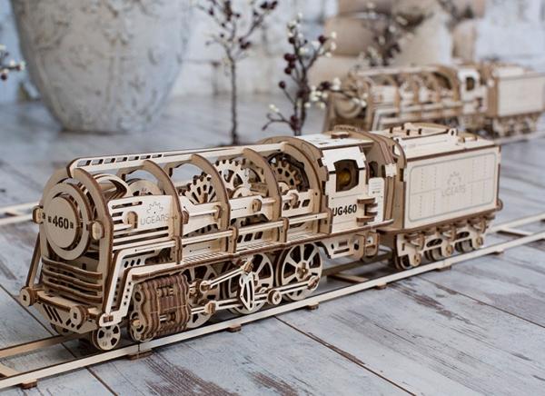 Puzzle 3D Locomotiva cu Aburi si Vagon din Lemn Ugears 5