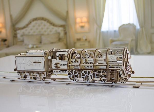 Puzzle 3D Locomotiva cu Aburi si Vagon din Lemn Ugears 8