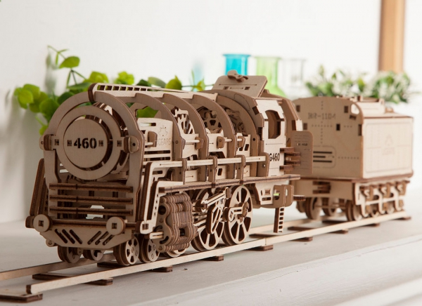 Puzzle 3D Locomotiva cu Aburi si Vagon din Lemn Ugears 3
