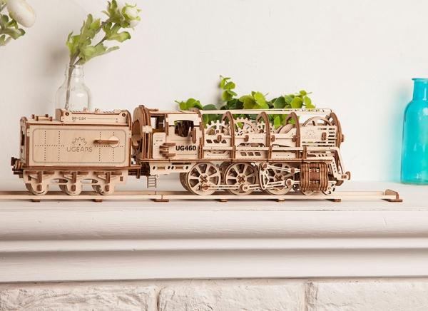 Puzzle 3D Locomotiva cu Aburi si Vagon din Lemn Ugears 12
