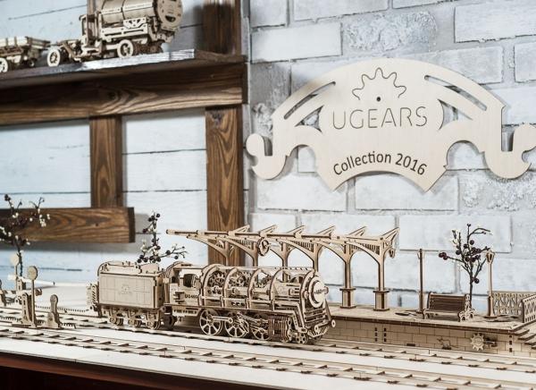 Puzzle 3D Locomotiva cu Aburi si Vagon din Lemn Ugears 13
