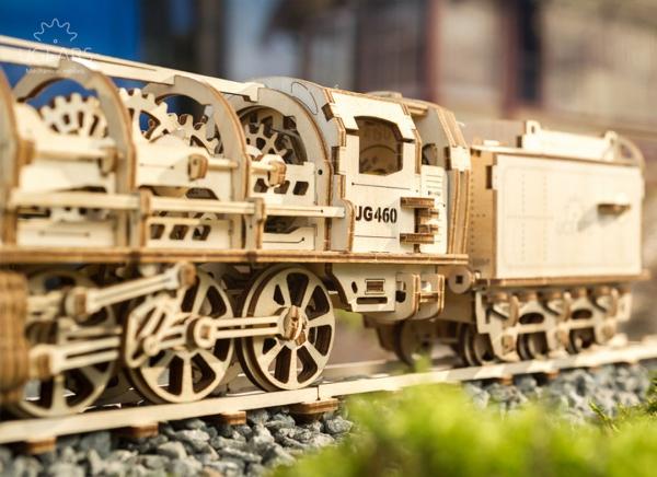 Puzzle 3D Locomotiva cu Aburi si Vagon din Lemn Ugears 2