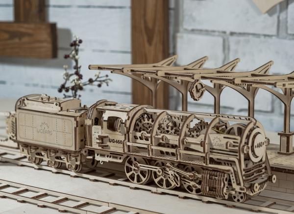 Puzzle 3D Locomotiva cu Aburi si Vagon din Lemn Ugears 16