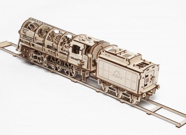 Puzzle 3D Locomotiva cu Aburi si Vagon din Lemn Ugears 22