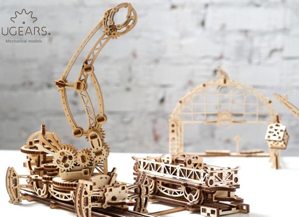 Puzzle 3D Macara pe Sine din Lemn Ugears 12
