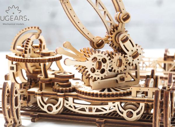 Puzzle 3D Macara pe Sine din Lemn Ugears 21