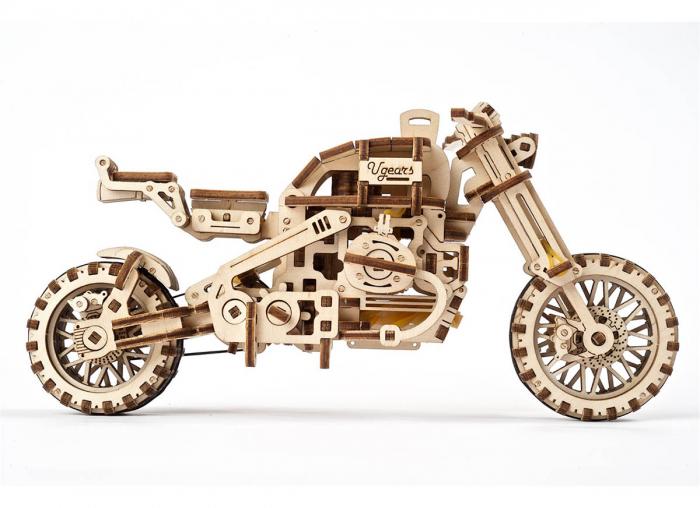 Puzzle 3D Motocicleta Scrambler UGR-10 din lemn Ugears 6