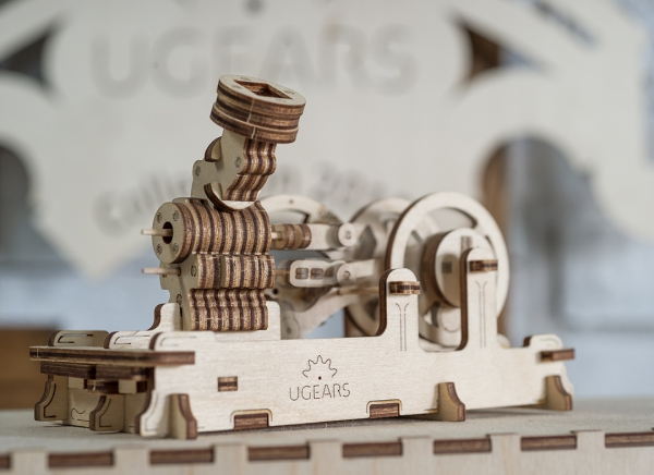 Puzzle 3D Motor Pneumatic din Lemn Ugears 9