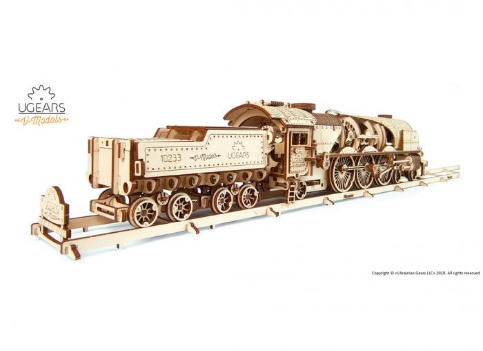 Puzzle 3D Tren V- Express cu abur din lemn Ugears 13