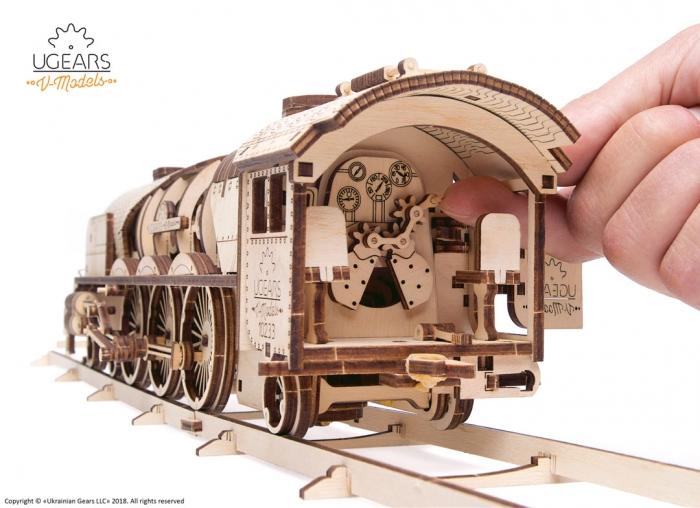 Puzzle 3D Tren V- Express cu abur din lemn Ugears 17