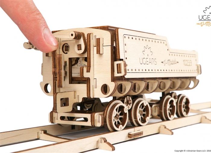 Puzzle 3D Tren V- Express cu abur din lemn Ugears 16