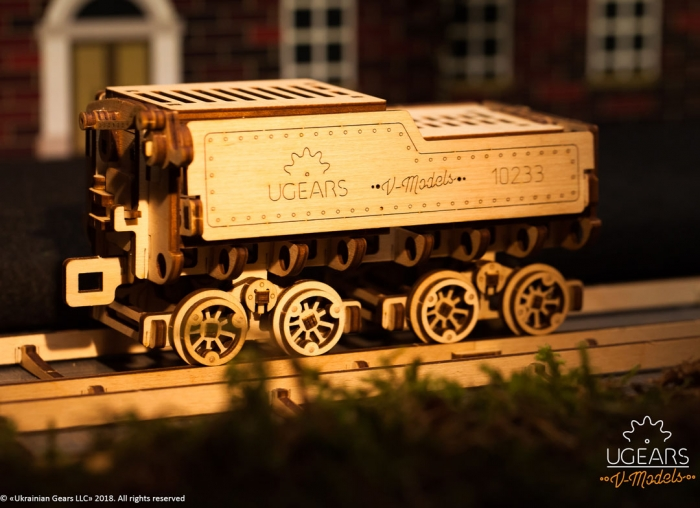 Puzzle 3D Tren V- Express cu abur din lemn Ugears 7