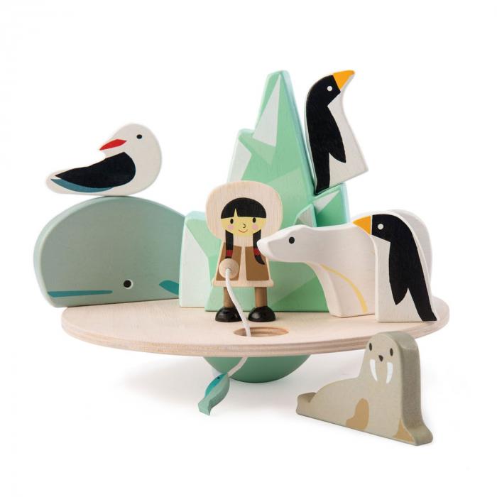 Aisberg plutitor jucarie din lemn educativa, 9 piese 2