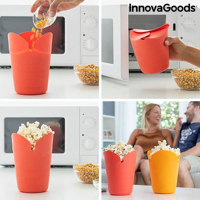 Aparat popcorn fara ulei, Popbox pliabil, din silicon 2