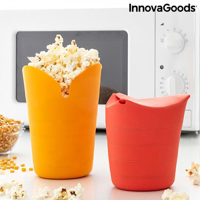 Aparat popcorn fara ulei, Popbox pliabil, din silicon 1