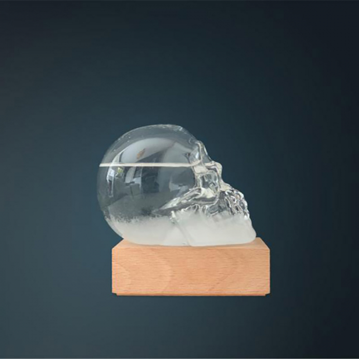 Barometru Craniu cu stativ din lemn [2]
