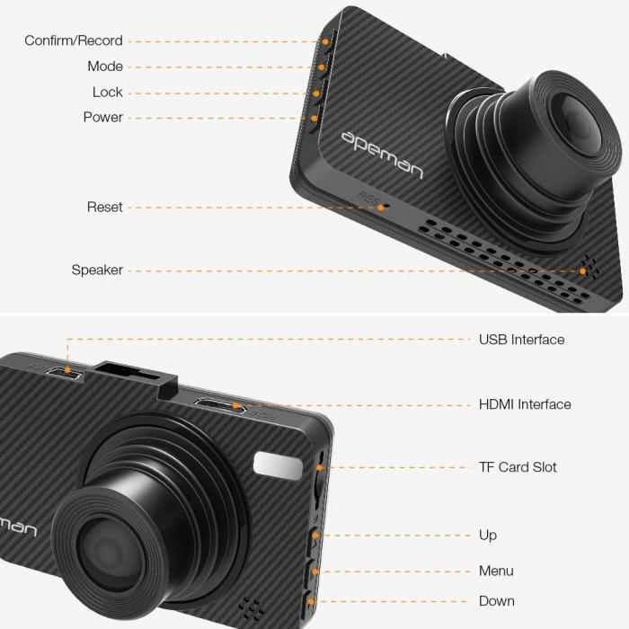 Camera auto DVR Apeman C450, Full HD, G-Sensor, Mod parcare, Filmare in bucla 6