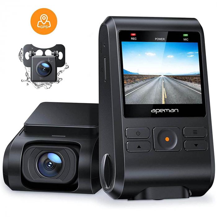 Camera auto DVR Dubla Apeman C550, Full HD, Bord si Spate, Detector miscare, Mod parcare, Filmare in bucla 7