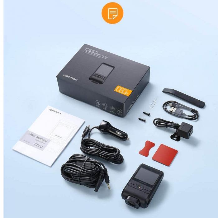 Camera auto DVR Dubla Apeman C550, Full HD, Bord si Spate, Detector miscare, Mod parcare, Filmare in bucla 6