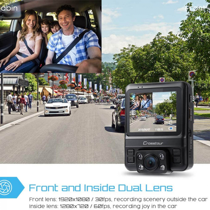 Camera auto DVR Dubla Crosstour CR750, Full HD, Bord si Interior, Night Vision, Mod parcare, Filmare in bucla 1