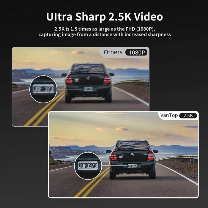 Camera auto DVR Dubla Oglinda VanTop H610, 2.5K, Bord si Spate, Touch-Screen, Senzor Sony IMX 335 8