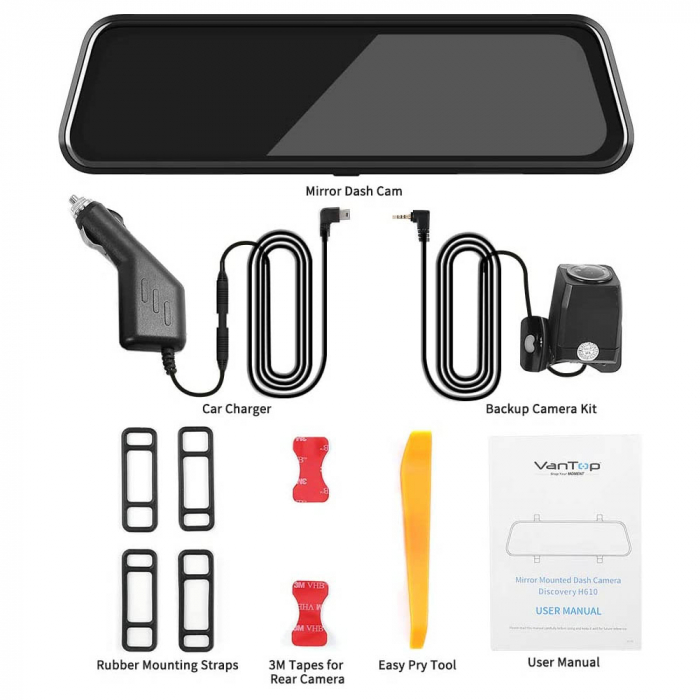 Camera auto DVR Dubla Oglinda VanTop H610, 2.5K, Bord si Spate, Touch-Screen, Senzor Sony IMX 335 9