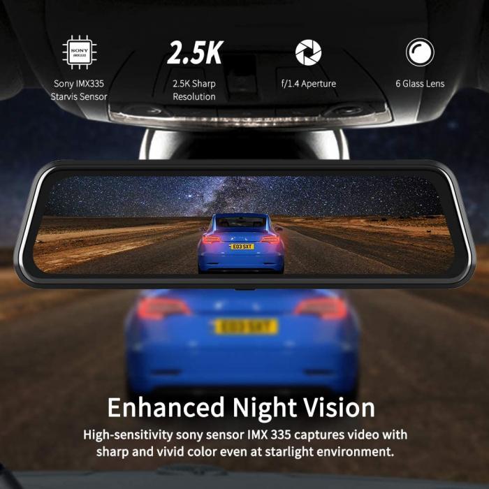 Camera auto DVR Dubla Oglinda VanTop H610, 2.5K, Bord si Spate, Touch-Screen, Senzor Sony IMX 335 3
