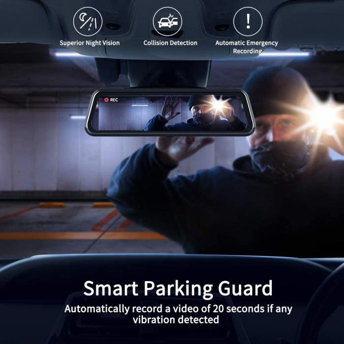 Camera auto DVR Dubla Oglinda VanTop H610, 2.5K, Bord si Spate, Touch-Screen, Senzor Sony IMX 335 6