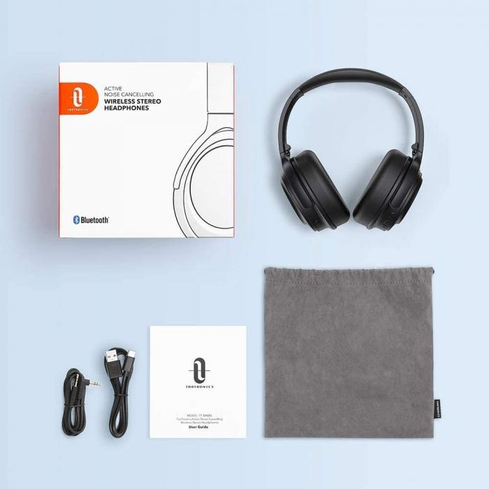Casti audio TaoTronics cu bas puternic si true wireless, Bluetooth 5.0, Active Noise canceling 4