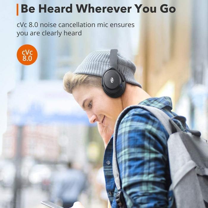 Casti audio TaoTronics cu bas puternic si true wireless, Bluetooth 5.0, Active Noise canceling 1