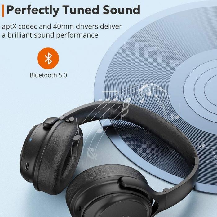 Casti audio TaoTronics cu bas puternic si true wireless, Bluetooth 5.0, Active Noise canceling 2